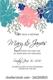 Wedding invitation card Wedding graphic set with succulents, wreath and glass terrariums