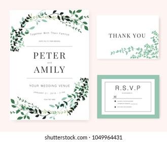 Wedding Invitation card with green plant