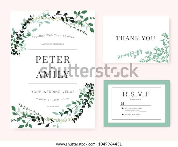 Wedding Invitation Card Green Plant Stock Vector (Royalty Free ...