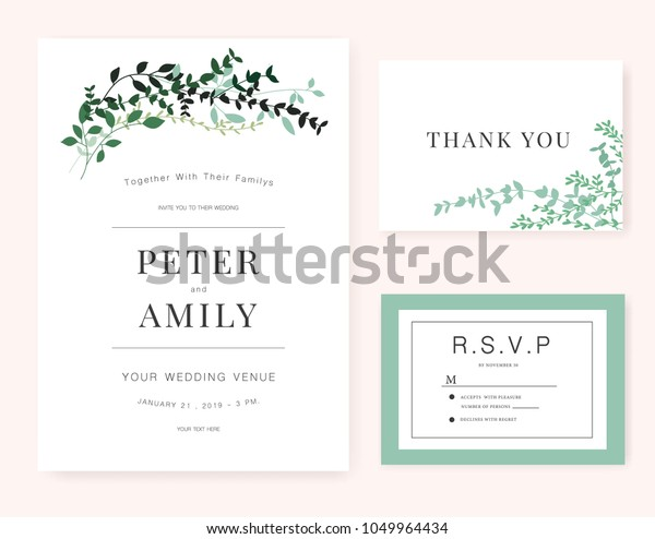 Wedding Invitation Card Green Plant Stock Vector (Royalty Free ...