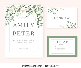 wedding invitation card green set