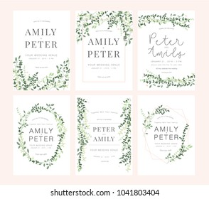 wedding invitation card green set
