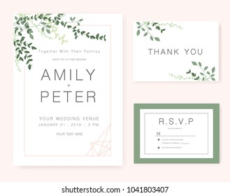 Wedding invitation card template text flower em vetor stock wedding invitation card green set stopboris Choice Image