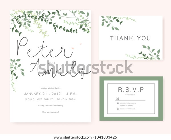 Wedding Invitation Card Green Set | Royalty-Free Stock Image