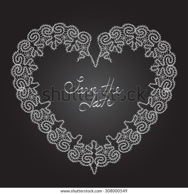 """Wedding invitation card with heart made from lace with words """"save the date"""" in the center of it. Vector illustration for your graphic design."""