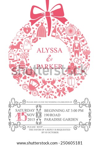 Wedding Invitation Card Icons Symbolsbowswirling Frame Wreath Stock
