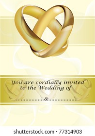 A wedding invitation card with intertwined gold rings and room for text