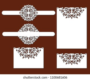 Wedding invitation card with lace frame at vintage style. Laser cut template of openwork vector silhouette. For envelope with ornate abstract ornament. Decorative design pattern for holiday party.