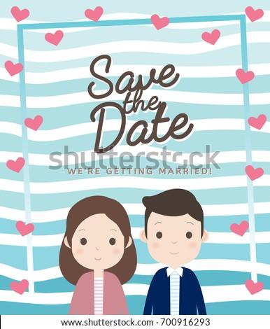 Wedding Invitation Card Layout Cute Couple Stock Vector Royalty