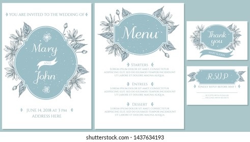 Wedding invitation card with light blue jerusalem artichoke