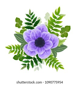 Wedding invitation card. Lovely vector template. Card design with violet anemone flower, forest greenery ferns, plants, green leaves.