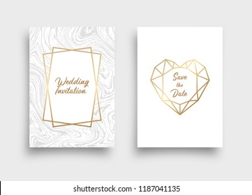 Wedding invitation card with marble texture and geometric heart. Vector pattern for your design.