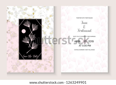 Wedding Invitation Card Marble Vector Set Stock Vector Royalty Free