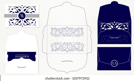 Wedding invitation card packaging template. Mockup for laser cutting.  Vector envelope. Opened navy blue isolated on a background. Decorative invite cutout folder with swirl. Save the date. Paper lace