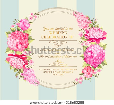 Wedding invitation card pink flowers vintage stock vector royalty wedding invitation card with pink flowers vintage wedding invitation card template with boy and girl mightylinksfo