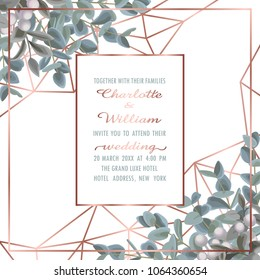 Wedding invitation card with pink gold geometric frame and eucalyptus on white background. Fashion greenery botanical greeting invite with watercolor effect. Template with text place.