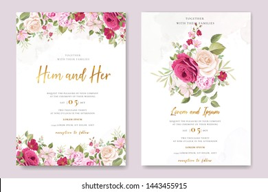 wedding invitation card with pink and maroon roses template
