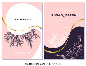 Wedding invitation card with pink rosemary