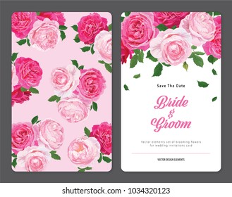 Wedding invitation card with pink roses flower in the background template. Vector set of blooming floral elements for design.