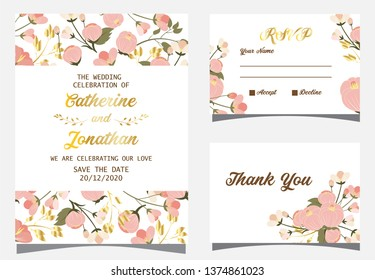 Wedding invitation card with pinnk flower background