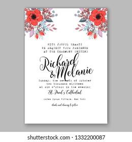 Wedding invitation card poppy tropical floral background. Greeting postcard in grunge retro vector Elegance pattern with flower rose illustration vintage chrysanthemum Valentine day card Luau Aloha