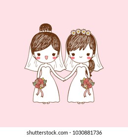 Wedding invitation card portrait with cute cartoon lesbian couple on pastel color style. Isolated on pink background. Copy space for text. Flat design. Vector illustration.