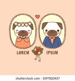 Wedding invitation card portrait with vintage frames. Cute cartoon pugs couple icon set. Isolated on orange background. Copy space for text. Flat design. Colored vector illustration.