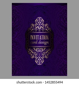 Wedding invitation card with purple and gold shiny eastern and baroque rich foliage. Ornate islamic background for your design. Islam, Arabic, Indian, Dubai