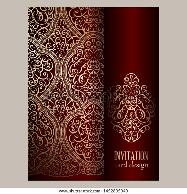 Wedding Invitation Card Red Gold Shiny Stock Vector Royalty