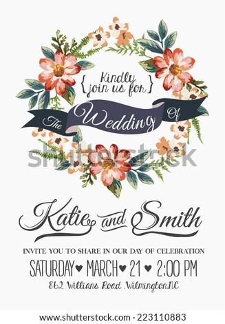wedding invitation card romantic flower templates のベクター画像