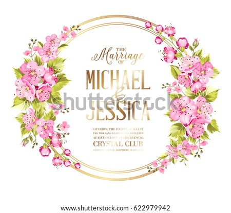 03819271261 Wedding invitation card with rose flowers. Vintage wedding invitation card  with template names and flower circle garland. Vector illustration. - Vector