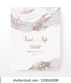 Wedding invitation card with rose gold agate slice gemstone texture.