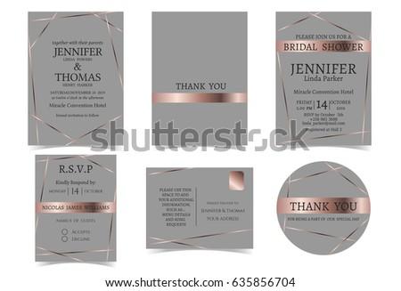Wedding Invitation Card Rose Gold Gray Stock Vektorgrafik