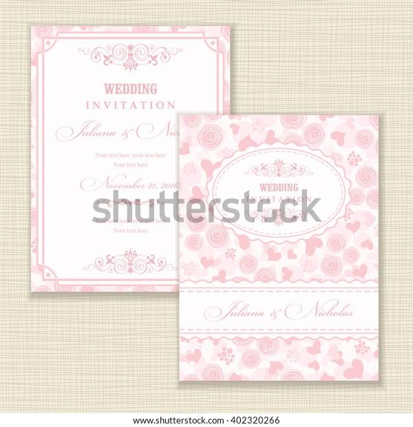 Wedding Invitation Card Roses Hearts Stock Vector (Royalty Free ...