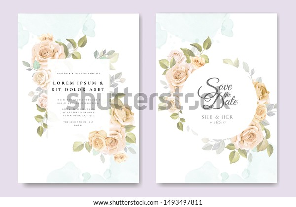 Wedding Invitation Card Roses Template | The Arts, Backgrounds ...