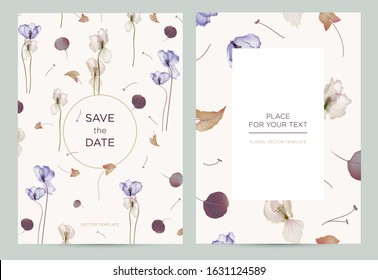 Wedding invitation card in the rustic style. Spring flowers on a light background. Vector template for the invitation, shop, beauty salon, spa.