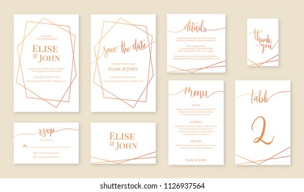 Wedding invitation card, save the date, rsvp, menu, details, table number and thank you card. White card with geometrical frame. Vector illustration template set.