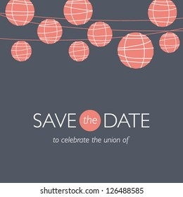 wedding invitation card, save the date, balloons paper lamps, wedding background illustration vector