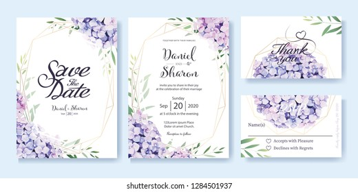 Wedding Invitation card, save the date, thank you, rsvp template. Vector. hydrangea flowers, olive leaves. Watercolor style.