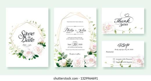 Wedding Invitation card, save the date, thank you, rsvp template. Vector. White rose flower, lemon leaf, Ivy leaves.