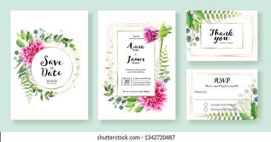 Wedding Invitation card, save the date, thank you, rsvp card Design template. Vector. Pink dahlia flowers, fern leaf, silverdolar leaves, Ivy plants.