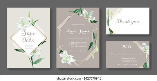 Wedding Invitation card, save the date, thank you, rsvp template. Vector. White lily flower.