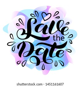 Wedding invitation card. Save the date lettering. Vector illustration