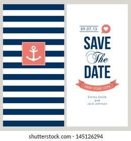 Wedding invitation card. Save the date, sailor theme. Text and color editable.