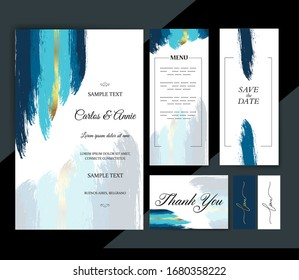 Wedding Invitation card, save the date, thank you, menu template. abstract grunge painted decor