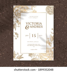 Wedding invitation card, save the date with golden flowers, leaves and branches.