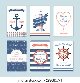 Wedding invitation card. Save the date, sailor theme. Set invitation