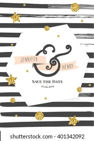 Wedding invitation Card. Save the date card.  Minimalistic geometric trendy design with brush stripes and golden confetti