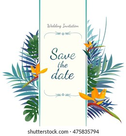 Wedding invitation card. Save the date. Colorful vector illustration.