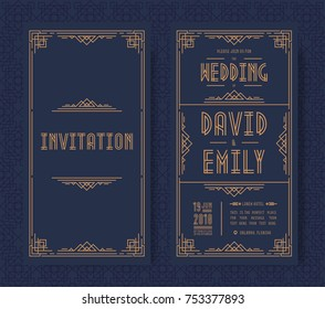 Wedding invitation card set art deco style gold color on black background with frame. Greeting card. Vector Illustration